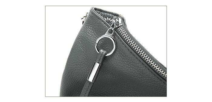 DUDU Shoulder Bag Fashion OL Style Full Grain Bag Silver Grey